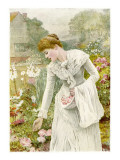 A Young Woman Picks Flowers in a Country Garden, and Stores Them in Her Apron Giclee Print