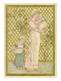 A Mother and Her Two Children in a Pretty Garden Giclee Print