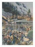 At Baku, in the Caucasus, Rebels Set Fire to Naphtha Wells Giclee Print