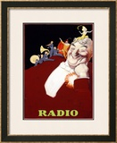 Radio Framed Giclee Print by Achille Luciano Mauzan
