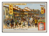 Atreet Scene in Shanghai : Western Gentleman Is Being a Carried by Rickshaw Giclee Print