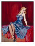 Blonde Woman in Blue by David Wright Giclee Print by David Wright