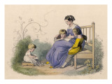 A Mother Sits on a Bench in the Garden While Her Children Read their Books Giclee Print