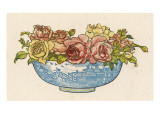 A Pretty Blue Willow Pattern Bowl Full of Pink and Yellow Roses Giclee Print