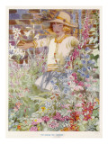 A Young Girl Among a Mass of Flowers Growing in a Garden Giclee Print