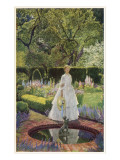A Young Victorian Woman in an Idyllic Garden Giclee Print