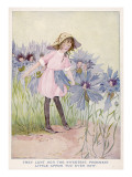 A Young Girl Is Lent a Petal from a Cornflower to Make an Apron for Her Giclee Print