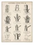 A Variety of Coffee Pots and Cafetieres from a Household Goods Catalogue Lámina giclée