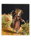 A Victorian Girl in a Garden, Picking a Nosegay for Her Mama and Papa Giclee Print