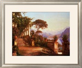 Lodge on Lake Como Print by Carl Frederic Aagaard