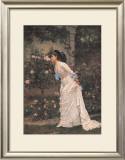 Girl and Roses Poster by Auguste Toulmouche