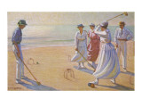 An Evening Game of Croquet on the Beach Giclee Print