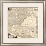 Composite: British Empire in America, c.1733 Framed Giclee Print by Henry Popple