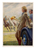 Advertisement for Dunlop Tyres Showing Spectators Watching a Polo Match Giclee Print