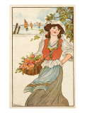 A Young Maiden Carries Her Basket of Flowers Along the Coastline, Ships in the Distance Giclee Print