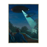 Coyne Helicopter Observes a UFO Giclee Print by Michael Buhler