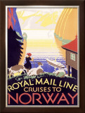 Royal Mail Ocean Line, Norway Framed Giclee Print by  Herrick