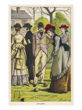 Elegant Men and Women Play Croquet in the Garden Giclee Print