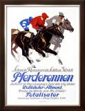 Pferderennen, Wollishofer-Allmend Framed Giclee Print by Iwan E. Hugentobler