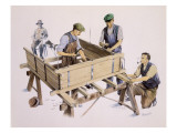 Carpenters Building a Wagon Giclee Print by Malcolm Greensmith