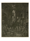 Dockers Handling Barrels and Other Goods in a Narrow Alley Between Warehouses Giclee Print