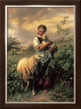 The Young Shepherdess Poster by Johann Baptist Hofner