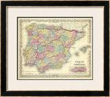 Spain and Portugal, c.1856 Framed Giclee Print by G. W. Colton
