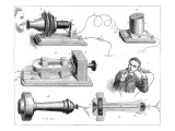 Engraving Diagram Showing Alexander Graham Bells Telephone System Giclee Print