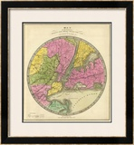 Map of the Country Twenty Five Miles Round the City of New York, c.1840 Framed Giclee Print by Jeremiah Greenleaf