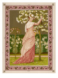 Cherry Ripe: a Pretty Lady in a Pink Dress Stands in Front of a Tree Full of Blossom Giclee Print