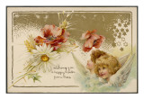 Easter Card with Cherubs and Flowers Giclee Print