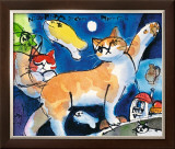 Nice Kitty's Dream with Moonfish Prints by Michael Leu