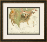 Geological Map of the United States, c.1856 Framed Giclee Print by Henry Darwin Rogers