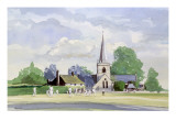 Cricket in an English Village Giclee Print by Malcolm Greensmith
