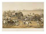 Elephants are Used to Haul Artillery, Forming a 'siege Train', During the Indian Mutiny Giclee Print