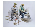 Craftsmen Make Besom Brooms and Wooden Rakes Giclee Print by Malcolm Greensmith