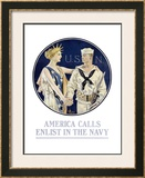 America Calls/Enlist in the Navy Framed Giclee Print by Joseph Christian Leyendecker
