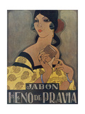 Elegant Spanish Woman in an Advertisement for Heno De Pravia Soap Giclee Print