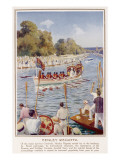 England's Social Elite Watch the Royal Barge as it Passes by During the Henley Regatta Giclee Print