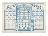 Contents Page, Based around an Open China Cabinet with Blue and White Tiles on Either Side Giclee Print