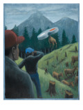 Elk Abducted by UFO 1999 Giclee Print by Michael Buhler