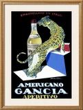 Americano Gancia Apertivo Framed Giclee Print by Achille Luciano Mauzan