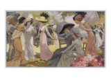 Fashionable Ladies at a Paris Garden Party Giclee Print