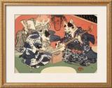 Singing Kimono Cats with Shamisen Prints by Daisuke Yamashina
