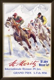 Horse Race, St. Moritz Framed Giclee Print by Hugo Laubi