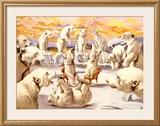 Polar Bears, Circus Framed Giclee Print by Adolphe Friedländer