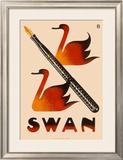 Swan Screw Cap Fountain Pen Framed Giclee Print