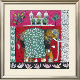 Pink Elephant with Lilies II Print by Relton &amp; Marine 