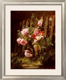 Pink Roses by a Garden Fence Prints by Alfred-Frederic Lauron