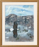 Eagle over Mount Rushmore Posters